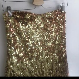 Gold Sequin Strapless Bodycon Dress